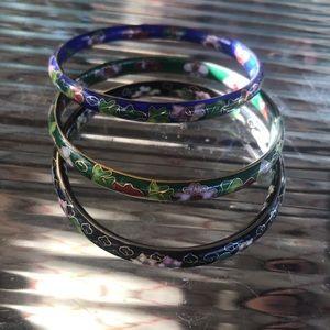 Vintage Jewelry - Vintage Cloisonné Bracelet Set Bangles
